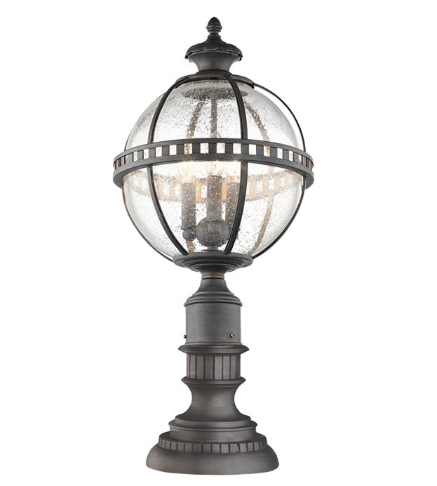 Elstead York Pedestal Lantern Light Black: Elstead Kichler Halleron 3 Light Outdoor Pedestal Lantern