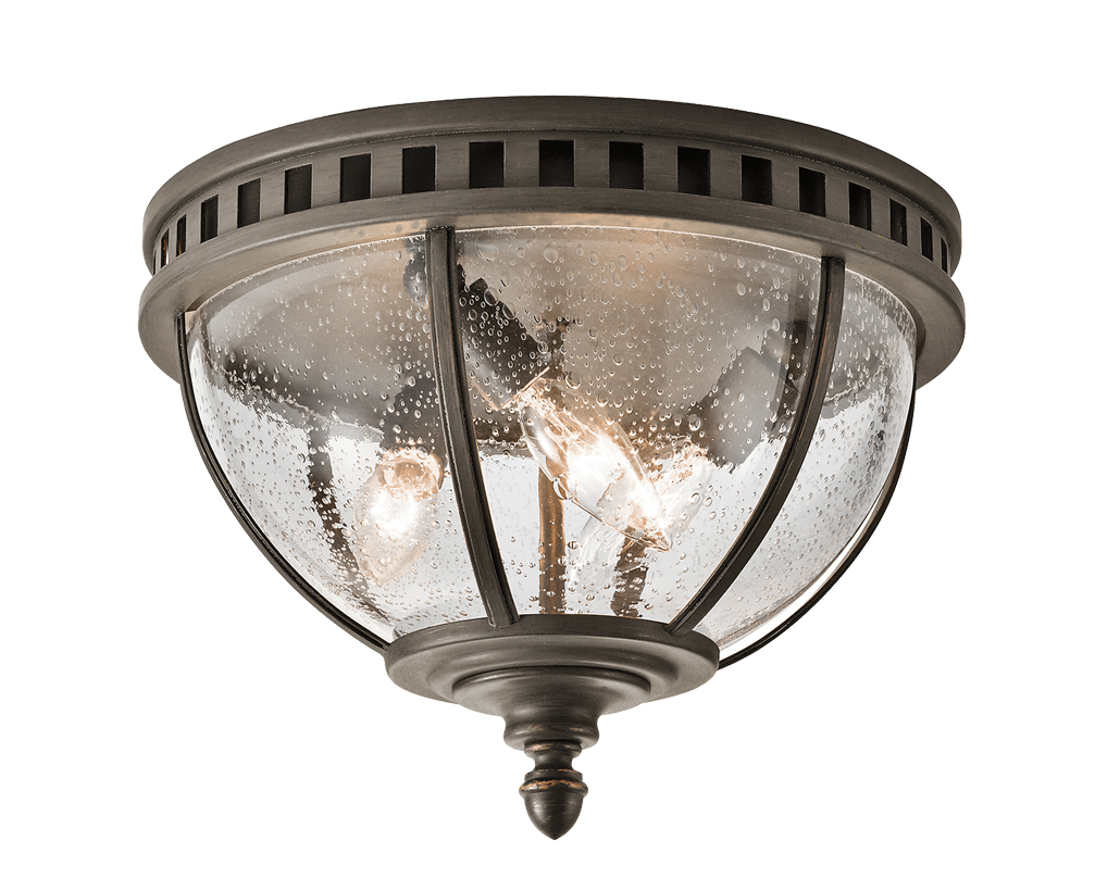 Elstead Kichler Halleron 3 Light Outdoor Flush Ceiling Light, Londonderry Finish - KL/HALLERON/F