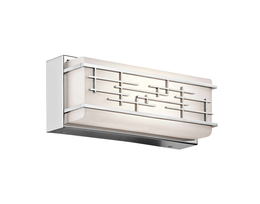 Elstead Kichler Zolon 12 14w LED Small Linear Bath Light, Satin Etched White Glass & Chrome Finish - KL/ZOLON/S BATH