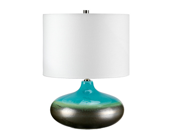 Elstead Laguna 1 Light Small Table Lamp, Turquoise and Graphite Glaze Finish With Cream Shade - LAGUNA/TL SM