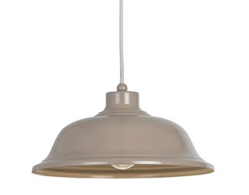 Endon Laughton 1 Light Ceiling Pendant, Slate Grey Finish With Grey & White Braided Flex - LAUGHTON-GRY