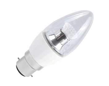 4.6w BC/B22 LED Dimmable Candle Bulb, Clear - ENES8111