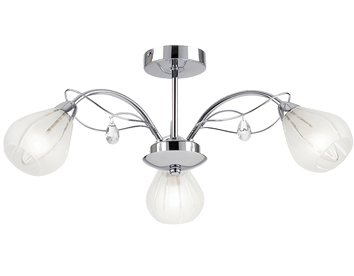 Endon Lockheart 3 Light Ceiling Fitting With Glass Shades, Chrome Finish - LOCKHEART-3CH