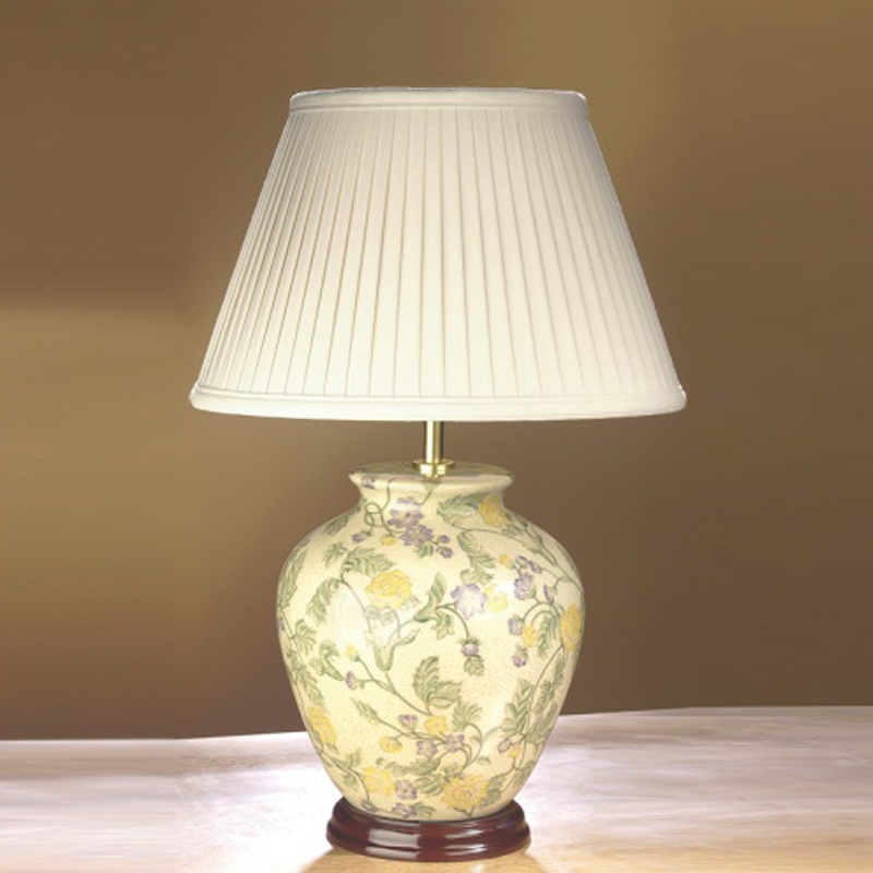 Elstead yellow flowers table lamp lui flowerye pu