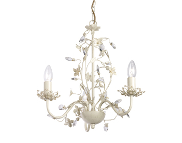 Endon Lullaby 3 Light Ceiling Pendant, Cream Brushed Gold Finish With Clear & Pearl Acrylic - LULLABY-3CR