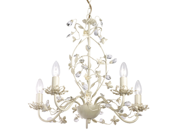 Endon Lullaby 5 Light Ceiling Pendant, Cream Brushed Gold Finish With Clear & Pearl Acrylic - LULLABY-5CR
