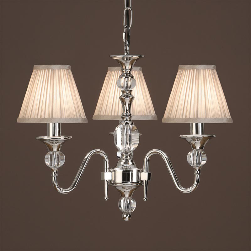 Interiors 1900 Polina 3 Light Chandelier, Polished Nickel & Crystal - LX124P3N
