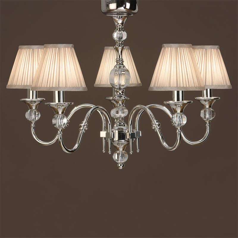 Interiors 1900 Polina 5 Light Ceiling Light, Polished Nickel & Crystal - LX124P5N