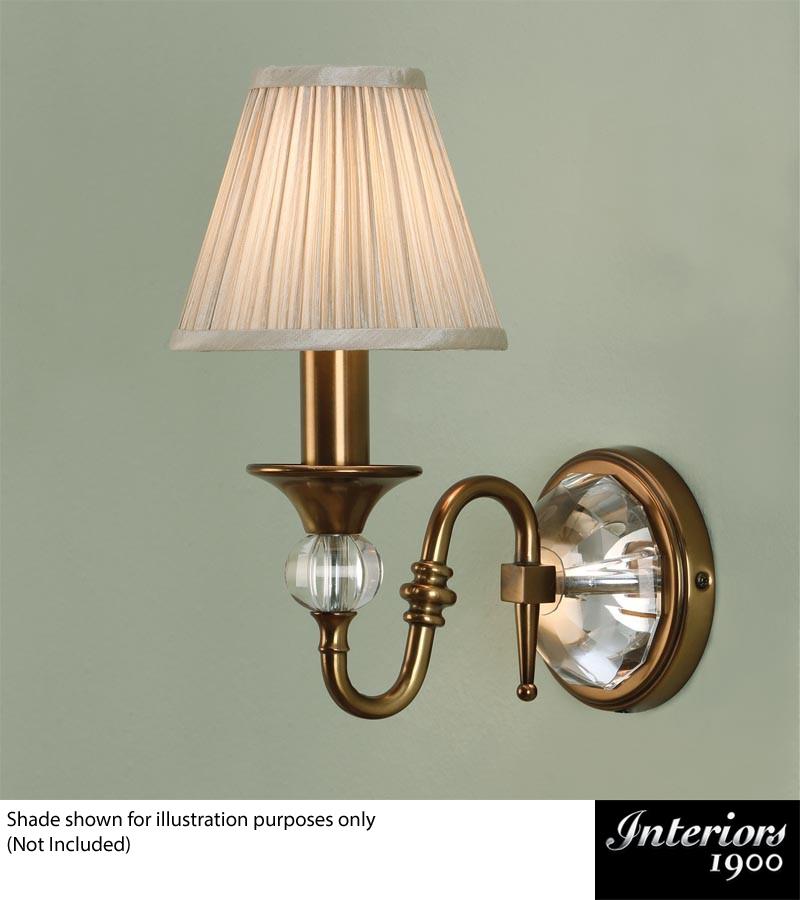Interiors 1900 \'Polina\' 1 Light Wall Light, Antique Brass & Crystal ...