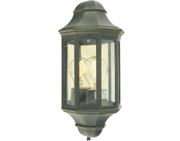 Elstead Norlys Malaga 1 Light Outdoor Mini Flush Wall Light, Black and Gold - M8/2 MINI BLK/GO