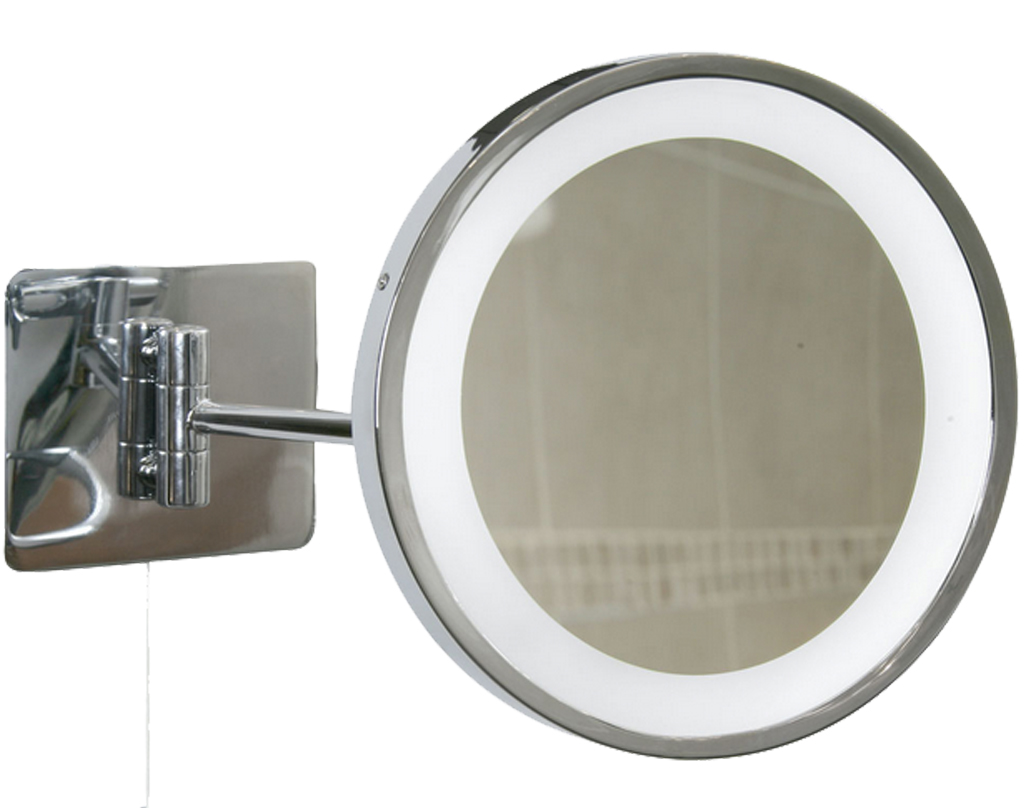 Oaks Lighting Swing Arm Illuminated Bathroom Mirror IP44, Polished Chrome - SALE-M90
