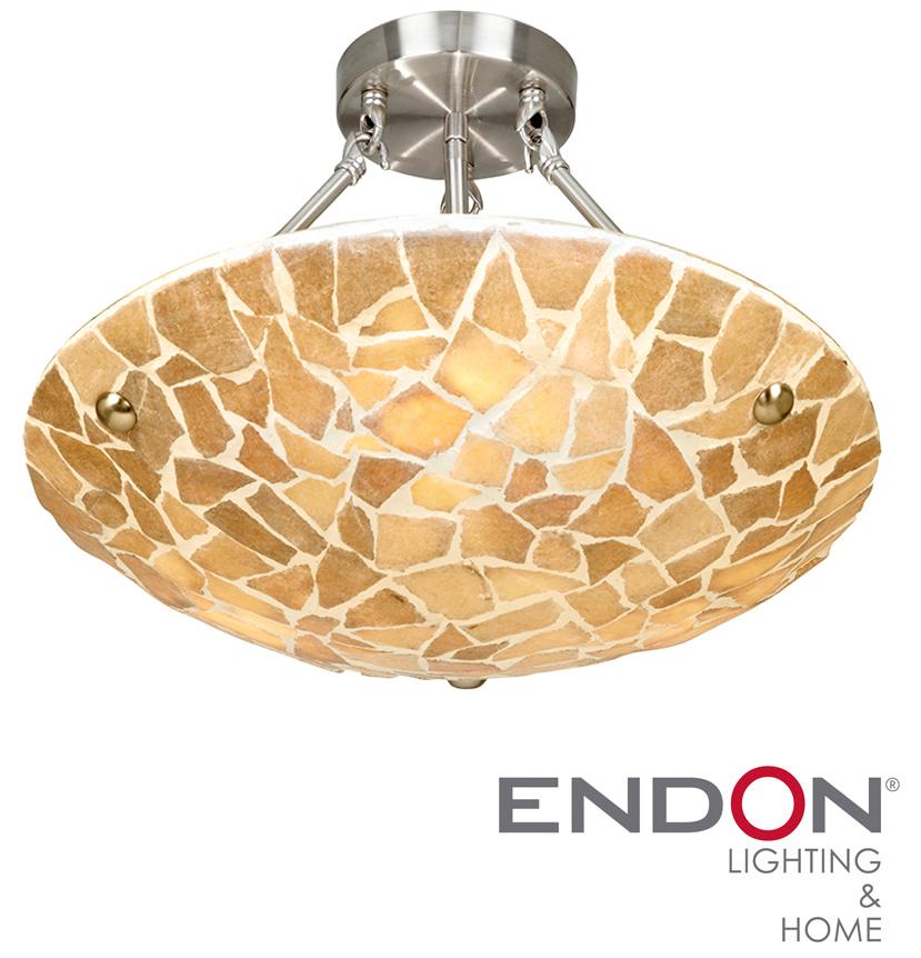 Endon 39 Marconi 39 Natural Stone Mosaic Semi Flush Ceiling