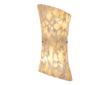Endon Marconi 2 Light Wall Light, Natural Stone Mosaic Glass & Satin Nickel Finish - MARCONI-2WBNA