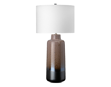 Elstead Maryland 1 Light Table Lamp, Light Brown Glazed Graphite Ceramic Finish With White Shade - MARYLAND/TL