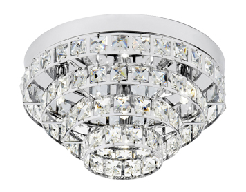 Endon Motown 4 Light Flush Ceiling Light, Chrome Plate Finish With Clear Crystal Glass - MOTOWN-4CH