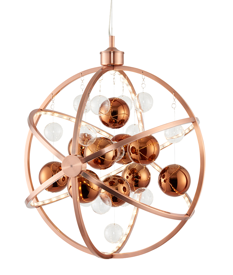 Endon Muni  Light Led Ceiling Pendant Copper Plate With Clear Copper Glass Muni Co From