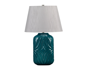Elstead Muse 1 Light Table Lamp, Turquoise Finish With Light Grey Shade - MUSE/TL TURQSE