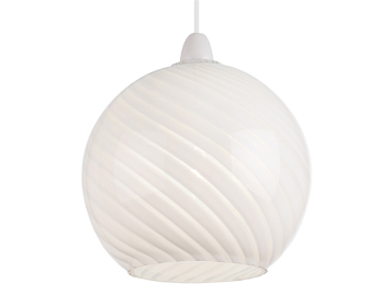 Endon Lowther Non-Electric Pendant, Gloss White Patterned Glass Finish - NE-LOWTHER-WH