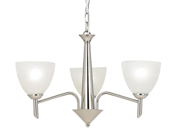Endon Neeson 3 Light Ceiling Pendant, Satin Nickel Finish With Alabaster Effect Glass - NEESON-3SN