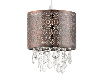 Endon Moccas Non-Electric Pendant, Antique Brass Finish With Clear Acrylic Beads - NE-MOCCAS-AB