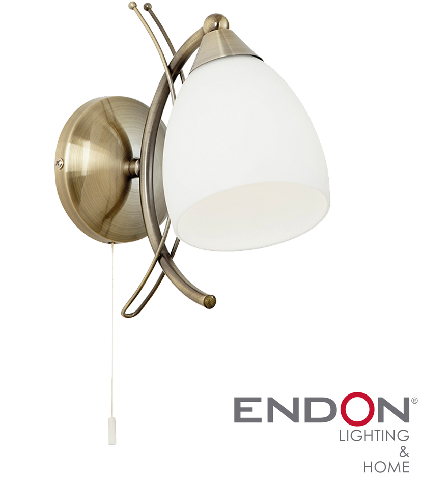 ENDON NEWMAN ANTIQUE BRASS SWITCHED WALL LIGHT - NEWMAN-1WBAB from Easy Lighting