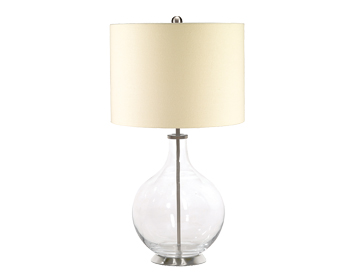 Elstead Orb 1 Light Table Lamp, Clear Finish With Cream Shade - ORB/TL CLEAR