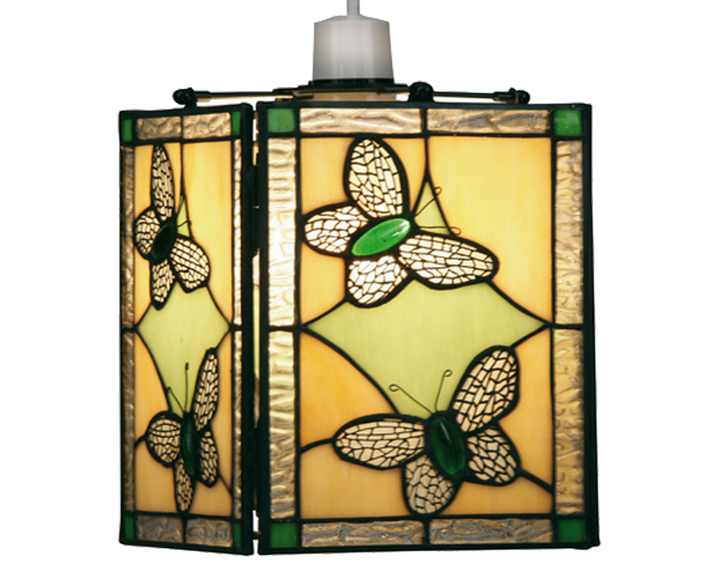 Tiffany non electrical lights from easy lighting oaks lighting butterfly tiffany easy fit light shade green ot 26 gr aloadofball Image collections