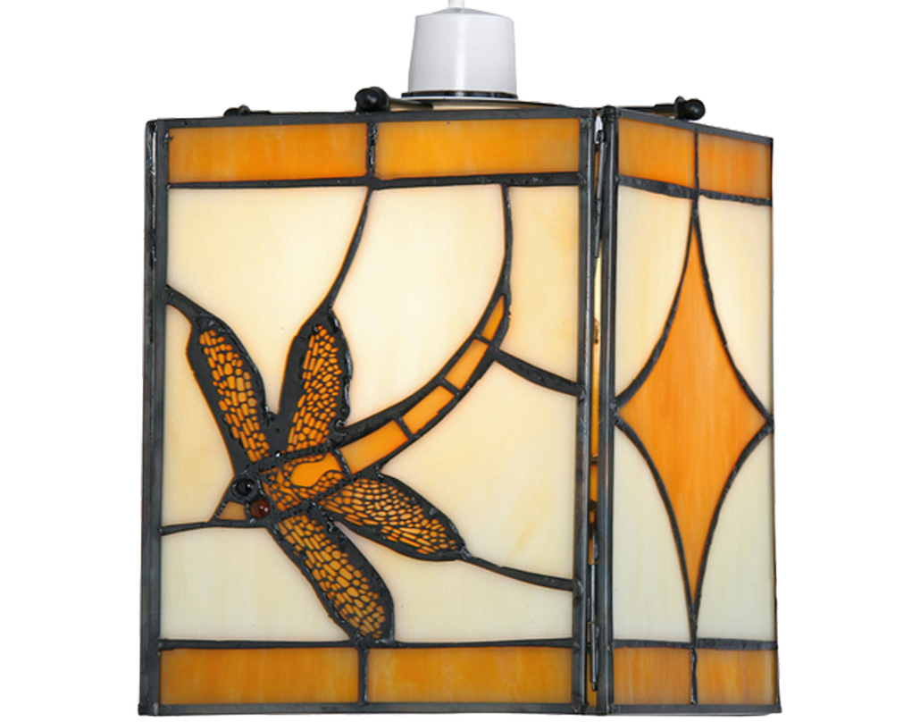 Oaks Lighting 'Dragonfly' Tiffany Non-Electric Ceiling Light, Amber - OT 27 AM