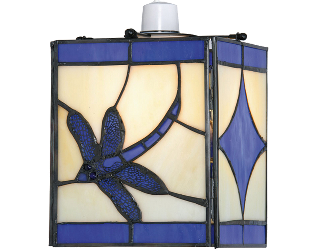 Oaks Lighting 'Dragonfly' Tiffany Non-Electric Ceiling Light, Blue - OT 27 BL