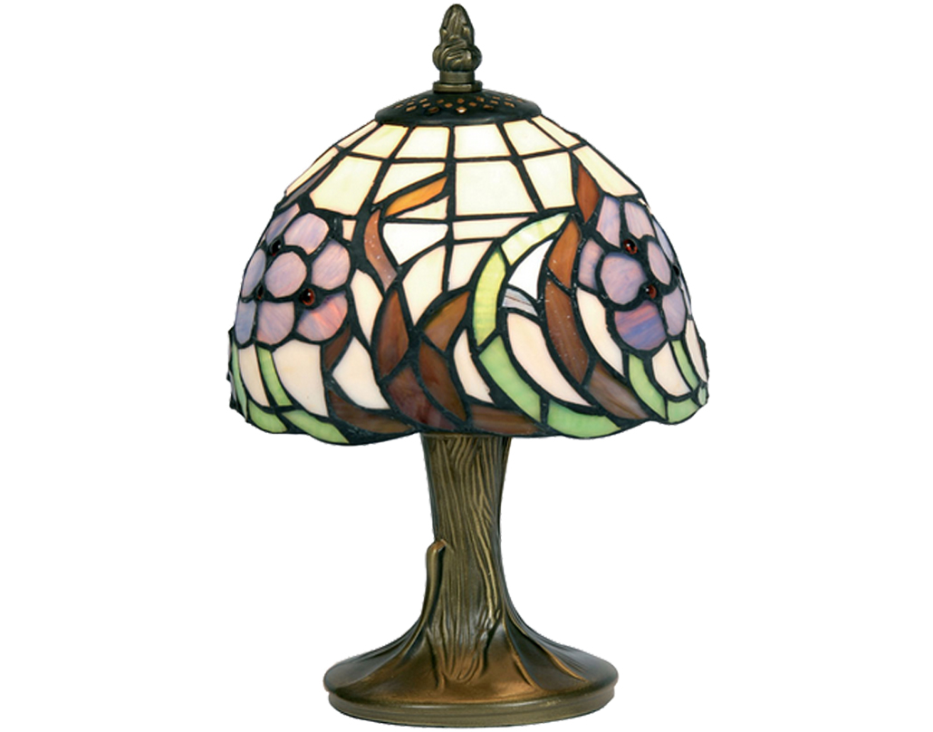 Oaks Lighting Blue Flower Tiffany Table Lamp - OT 50 BF