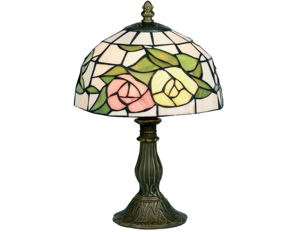 Oaks Lighting Pink Yellow Tiffany Table Lamp - OT 60 PY