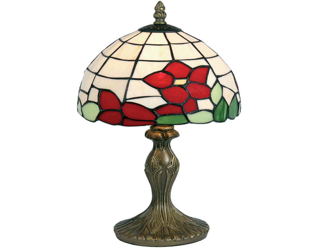 Oaks Lighting Red Flower Tiffany Ceiling Light - OT 60 RF