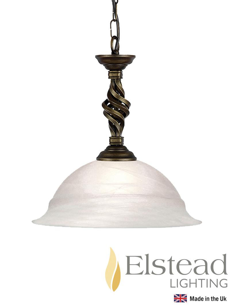 Elstead 39 Pembroke 39 Hand Forged 1 Light Semi Flush Ceiling Light Blac