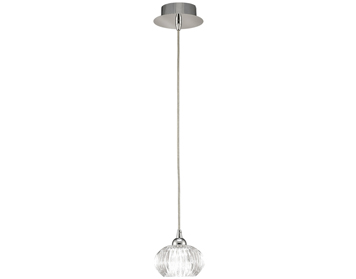 Franklite Tizzy 1 Light Pendant Ceiling Light, Chrome Finish With Clear Ripple Effect Glass - PCH117