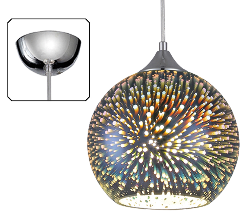 Franklite Vision Ceiling Pendant Light 250mm Silver Glass With Chrome Finish