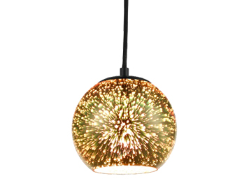 Franklite Vision 150mm 1 Light Ceiling Pendant, Gold 3D Holographic Effect Finish - PCH167