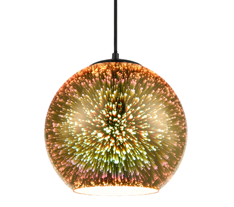 Franklite Vision 1 Light Pendant Light, Gold 3D Holographic Effect