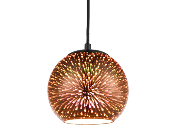Franklite Vision 150mm 1 Light Ceiling Pendant, Copper 3D Holographic Effect Finish - PCH170