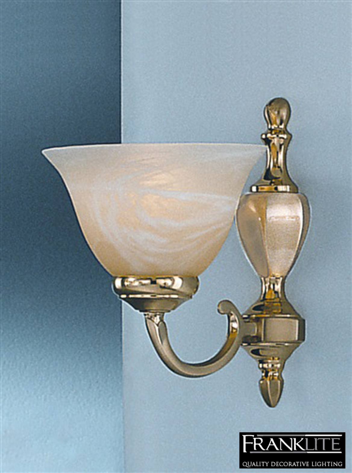Satin Brass Wall Lights : FRANKLITE MIAMI SATIN & POLISHED BRASS FINISH SINGLE WALL LIGHT - PE8381 from Easy Lighting