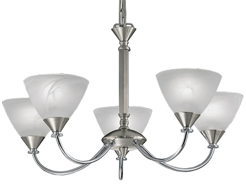 Franklite Meridian 5 Light Ceiling Light, Brushed Nickel Finish With Alabaster Glass Shades - PE9675/786