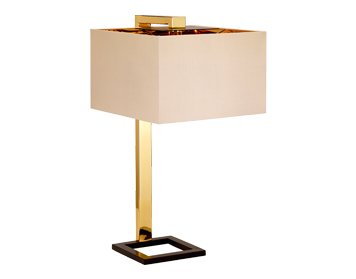 Elstead Plein 1 Light Table Lamp, Dark Brown & Polished Gold Finish With Cream Shade - PLEIN/TL