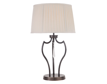 Elstead Pimlico 1 Light Table Lamp, Dark Bronze Finish With Ivory Shade - PM/TLDB