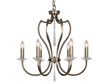 Elstead Pimlico 6 Light Ceiling Light Crystal Cut Glass Sconces, Dark Bronze - PM6DB