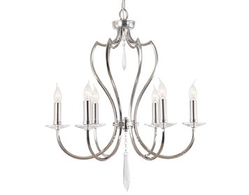 Elstead Pimlico 6 Light Ceiling Light Crystal Cut Glass Sconces, Polished Nickel - PM6PN
