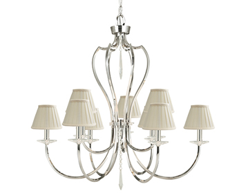Elstead Pimlico 9 Light Chandelier, Polished Nickel - PM9PN
