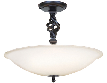 Elstead Pembroke Hand-Forged 3 Light Semi-Flush Ceiling Light, Black - P4-PB/SF/ABLACK