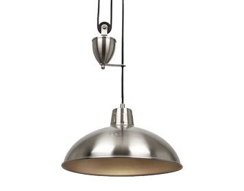 Endon Polka 1 Light Rise & Fall Ceiling Pendant, Satin Nickel Finish - POLKA-SN