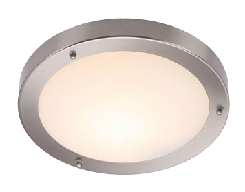 Endon Portico Flush Ceiling Light, Satin Nickel & Frosted Glass Finish - 12421