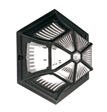 Elstead Parish Upright Ceiling Flush Lantern, Black - P4-PR12BLACK