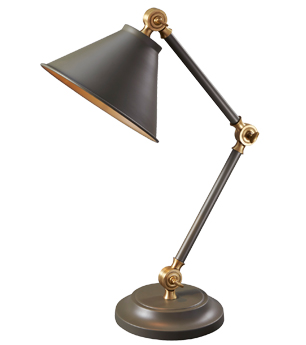 Elstead Provence 1 Light Element Mini Table Lamp, Dark Grey & Aged Brass - PV ELEMENT GAB